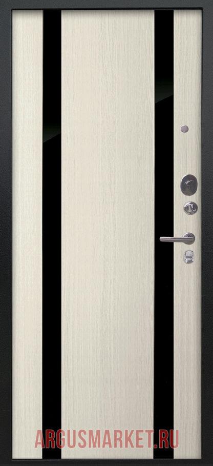 Входная дверь с зеркальными вставками Аргус Люкс ПРО Черный шелк Дуэт Белое дерево