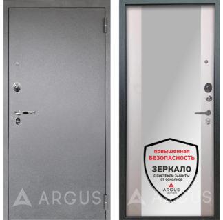Белая сейф-дверь с зеркалом Аргус Люкс ПРО 3К Серебро антик Вояж Белое дерево