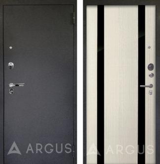 Железная дверь с зеркальными вставками Аргус Люкс ПРО 3К Черный шелк Дуэт Белое дерево