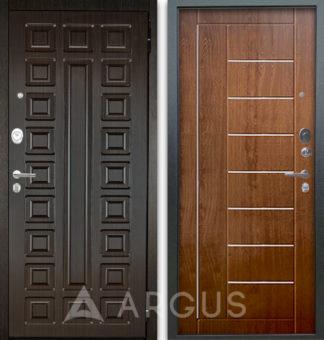 Входная дверь с молдингами Аргус Люкс АС 2П Сенатор Венге/Фриза Дуб золотой