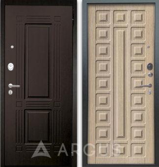 Белая входная дверь Аргус Люкс АС 2П Триумф Венге/Сенатор Капучино