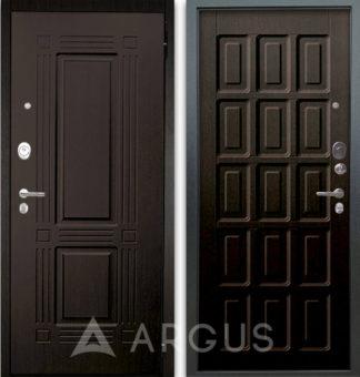 Черная входная дверь Аргус Люкс АС 2П Триумф Венге/Шоколад Венге тисненый