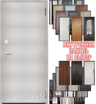 Входная дверь Аргус Люкс 3К 2П Агат Белый вельвет - панель на выбор