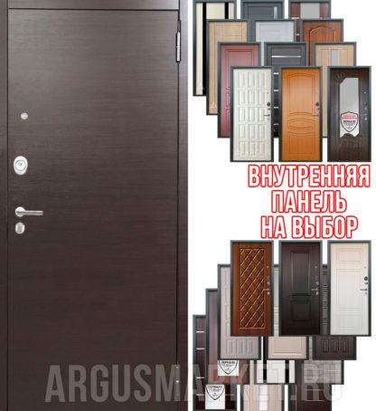 Металлическая сейф дверь Аргус Люкс 3К 2П Элегант Венге - панель на выбор