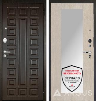Белая дверь с зеркалом Аргус Люкс АС 2П Сенатор Венге/Милли Ларче светлый