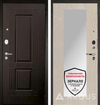 Входная дверь с зеркалом Аргус Люкс АС 2П Триумф Венге/Милли Ларче светлый