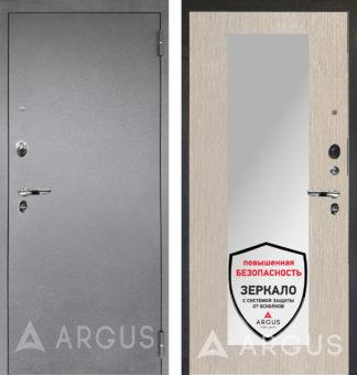 Металлическая дверь с зеркалом Аргус Люкс ПРО 3К Серебро антик МИЛЛИ ЛАРЧЕ СВЕТЛЫЙ