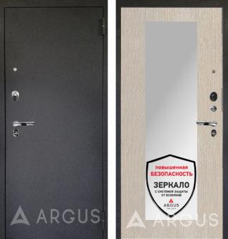 Дверь входная с зеркалом Аргус Люкс ПРО 3К Черный шелк МИЛЛИ ЛАРЧЕ СВЕТЛЫЙ