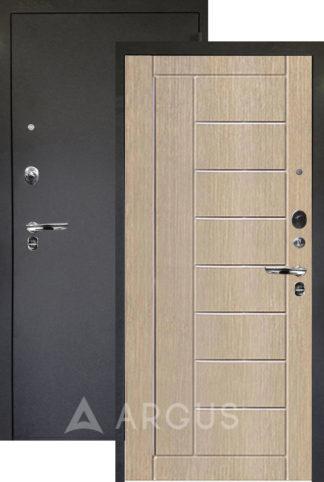 Светлая сейф-дверь Аргус Люкс ПРО 3К Черный шелк ФРИЗА КАПУЧИНО