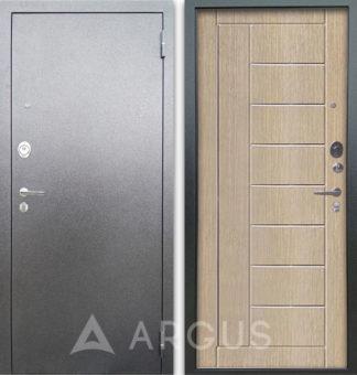 Металлическая дверь с молдингами Аргус Люкс АС Серебро антик Фриза Капучино
