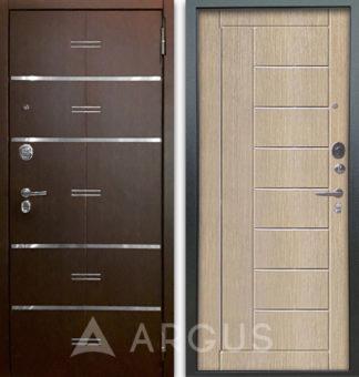 Белая дверь с молдингами Аргус Люкс АС 2П Лайн Венге/Фриза Капучино
