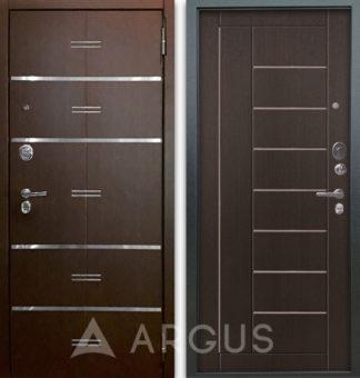 Входная дверь с молдингами Аргус Люкс АС 2П Лайн Венге/Фриза Венге тисненый