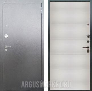 Металлическая входная дверь Аргус Люкс 3К Серебро антик Агат Белый вельвет