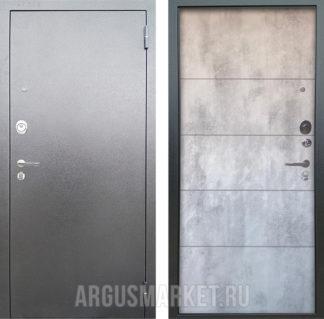 Стальная дверь Аргус Люкс 3К Серебро антик Агат Светлый бетон