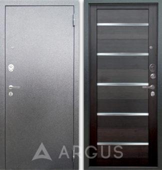 Входная металлическая дверь со стеклом Аргус Люкс 3К Серебро антик Александра Вельвет