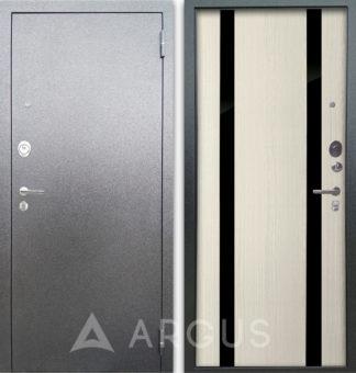 Входная сейф дверь с черными зеркальными вставками Аргус Люкс 3К Серебро антик Дуэт Белое дерево