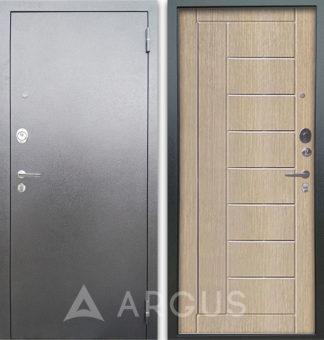 Входная металлическая дверь с молдингами Аргус Люкс 3К Серебро антик Фриза Капучино