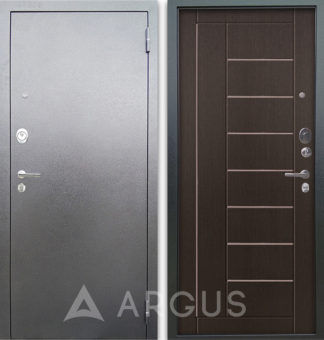 Входная стальная дверь с молдингами Аргус Люкс 3К Серебро антик Фриза Венге