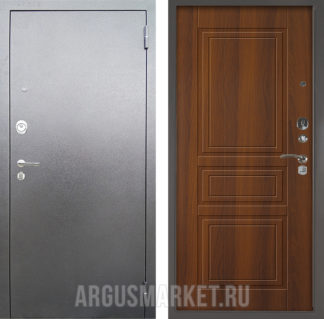 Входная железная сейф-дверь Аргус Люкс 3К Серебро антик Гаральд Дуб рустикальный