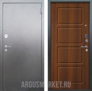 Стальная сейф дверь Аргус Люкс 3К Серебро антик Геометрия Дуб рустикальный