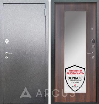 Железная дверь с зеркалом Аргус Люкс 3К Серебро антик Милли Коньяк Калифорния