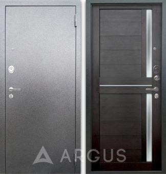 Металлическая дверь со стеклом и молдингами Аргус Люкс 3К Серебро антик Мирра Вельвет