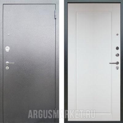 Металлическая сейф дверь Аргус Люкс 3К Серебро антик Тревор Белый силк