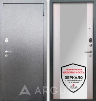 Входная стальная сейф дверь с зеркалом Аргус Люкс 3К Серебро антик Вояж Белое дерево