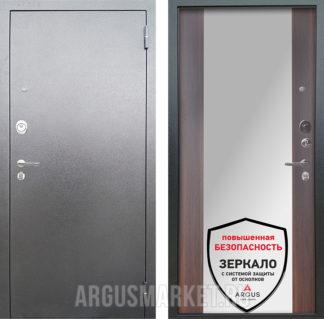 Входная дверь с зеркалом Аргус Люкс 3К Серебро антик Вояж Коньяк Калифорния
