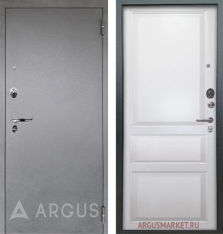 Стальная дверь Аргус Люкс АС Серебро антик Каролина Эмаль белая