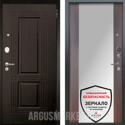 Металлическая дверь с зеркалом Аргус Люкс АС 2П Триумф Венге/Вояж Коньяк Калифорния