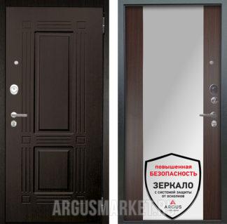 Входная сейф дверь с зеркалом Аргус Люкс АС 2П Триумф Венге/Вояж Венге