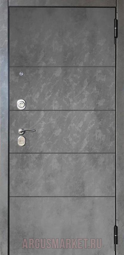 Входная дверь Аргус Серебро антик Агат Темный бетон