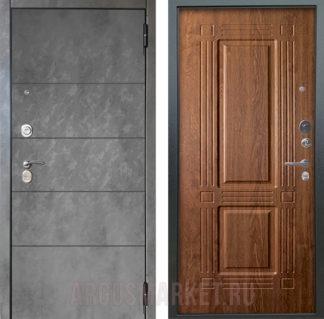 Входная дверь Аргус Люкс ПРО 3К 2П Серебро антик Агат Темный бетон/Триумф Дуб золотой
