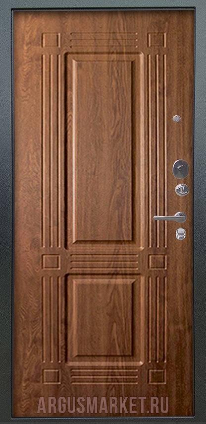 Входная дверь Аргус Люкс ПРО 2П Серебро антик Триумф Дуб золотой