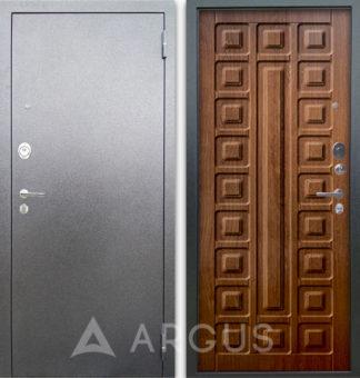 Дверь стальная Аргус Люкс АС Серебро антик Сенатор Дуб золотой