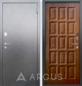 Входная сейф-дверь Аргус Люкс АС Серебро антик Шоколад Дуб золотой