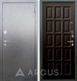 Черная входная дверь Аргус Люкс АС Серебро антик Шоколад Венге тисненый